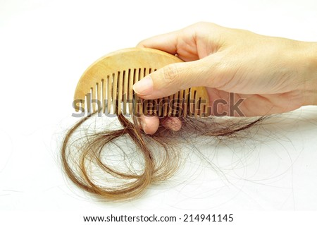 Hair loss problem, hair loss in hand with comp - stock photo