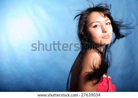 Hair motion. Fashion model - stock photo