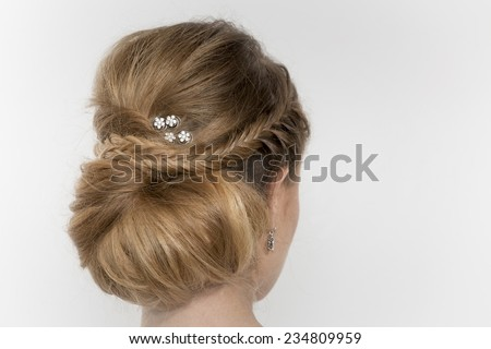 Hair of a young bride - stock photo