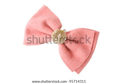 Hair pink clip for women on isolated white background - stock photo