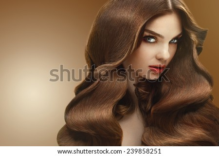 Hair. Portrait of Beautiful Woman with Long Hair. High quality image. - stock photo