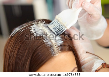 Hair salon. Application of cosmetics. - stock photo