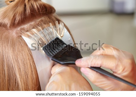 Hair salon. Coloring. - stock photo