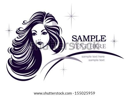 Hair stile icon, girl's face, rasterized version - stock photo