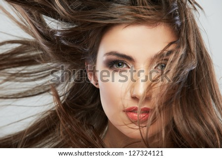 Hair style fashion woman face close up portrait . - stock photo