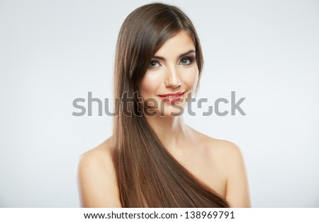 Hair style smiling woman portrait. Female model isolated on white background.