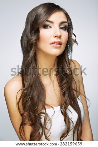 Hair style young woman portrait.Female model studio posing. - stock photo
