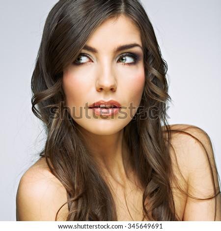 Hair style young woman portrait.Female model studio posing. - stock photo