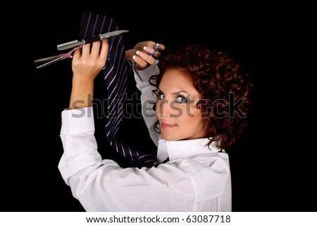 hair stylist with scissors isolated over black