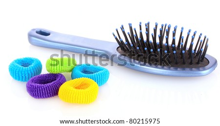 Hairbrush and Scrunchy isolated on white