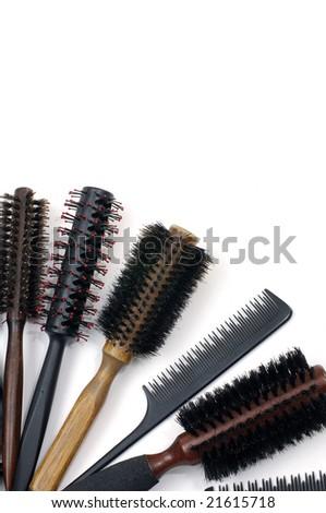 hairbrush isolated on white background - stock photo