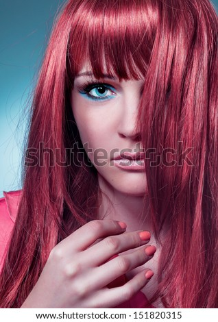 haircolors wild red - stock photo