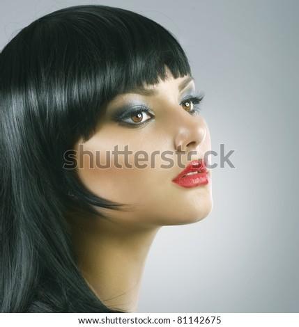 Haircut.Hairstyle.Beautiful Brunette Girl.Healthy Hair - stock photo