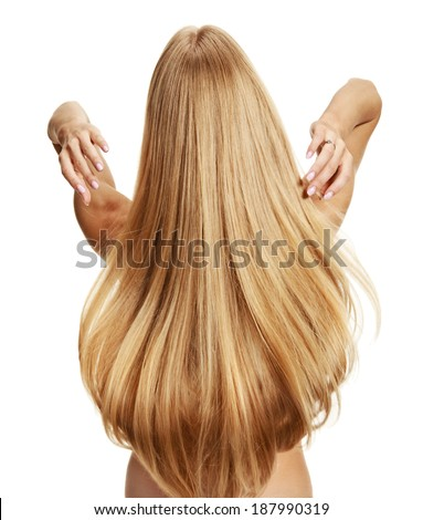 Hairdo / studio photography of young girl with healthy long hair - isolated on white background  - stock photo