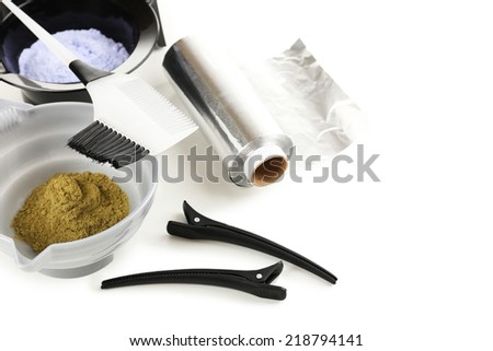 Hairdresser accessories for coloring hair, isolated on white - stock photo