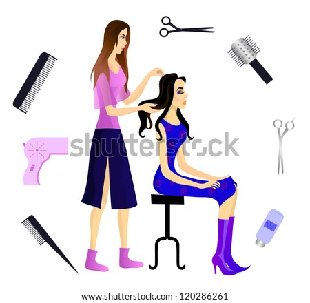 Hairdresser and her client, and various beautician accessories. - stock photo