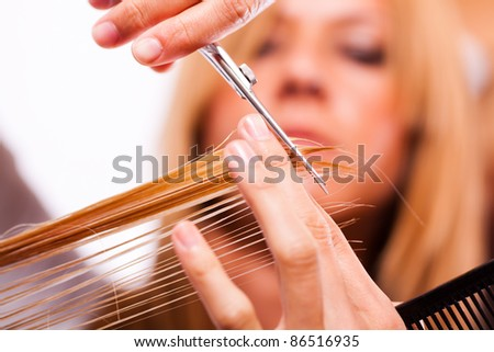 Hairdresser cut hair of a blonde woman / close-up - stock photo