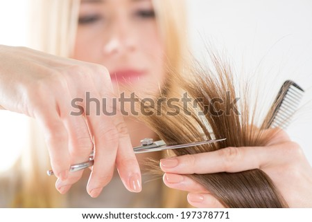 Hairdresser cut hair of a woman. Close-up. - stock photo
