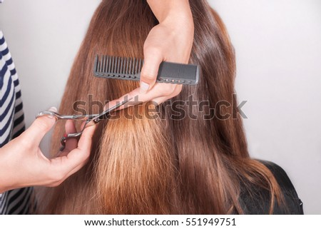 hairdresser cuts  brown-haired person hair holding a hairbrush