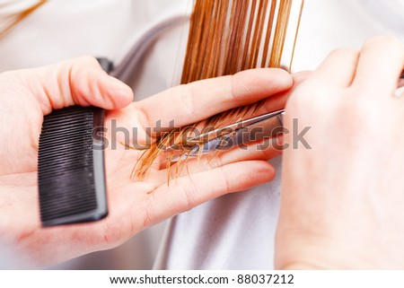 Hairdresser cutting the hair of a blonde woman - stock photo