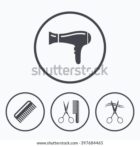 Hairdresser icons. Scissors cut hair symbol. Comb hair with hairdryer sign. Icons in circles. - stock photo
