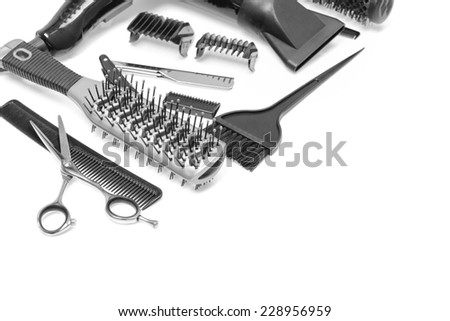 Hairdresser's accessories on a table in a diagonal shape. Nice for a personal card and adding a text area.