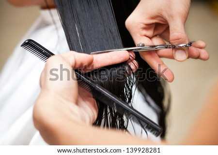 Hairdresser's hands cutting hair.