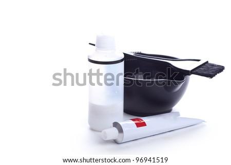 Hairdresser tools, closeup on white background - stock photo