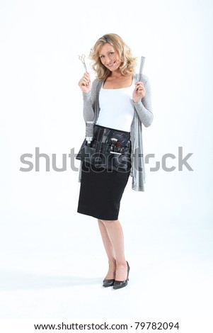 Hairdresser with her tools of the trade - stock photo