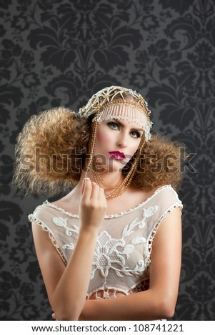 Hairdressing and makeup fashion girl on dark background