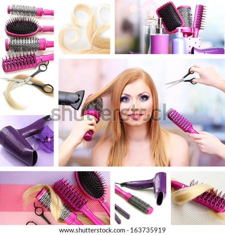 Hairdressing collage - stock photo