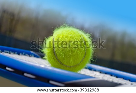 Haired tennis ball on a racket - stock photo