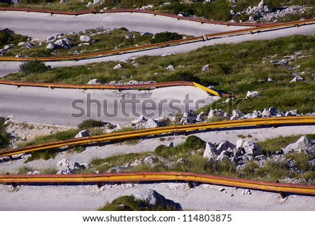 Hairpin curves in picturesque nature park Biokovo on Dalmatian coast near Makarska Riviera in Croatia - stock photo