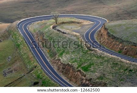 Hairpin Turn Road - stock photo