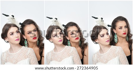 Hairstyle and make up - beautiful females art portrait. Elegance. Genuine natural brunettes with accessories in studio. Portrait of two attractive women with creative makeup - stock photo