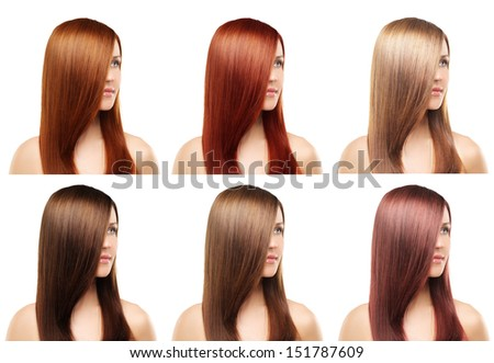 Hairstyle collage, natural long  hair - stock photo