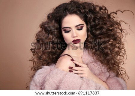 Hairstyle Curly Hair Beauty Makeup Fashion Stock Photo 691117837 ...