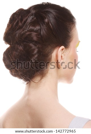 hairstyle dark. back view. - stock photo