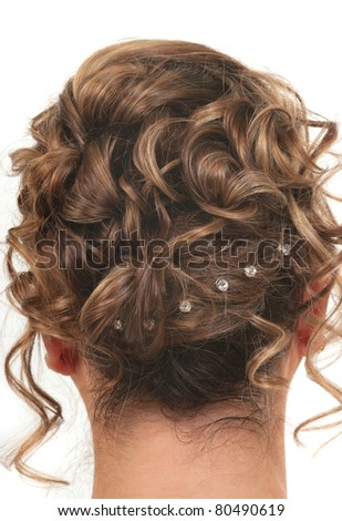 Hairstyle for prom, wedding or party - stock photo