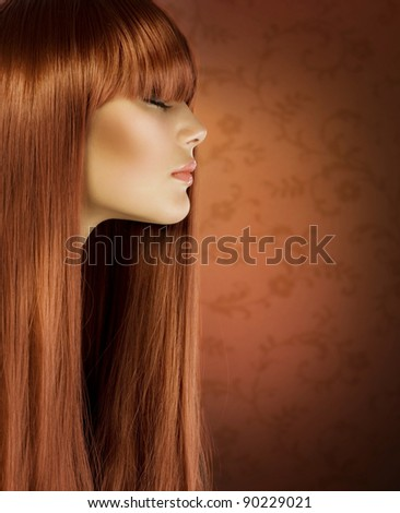 Hairstyle.Healthy Hair .Beautiful Girl portrait - stock photo