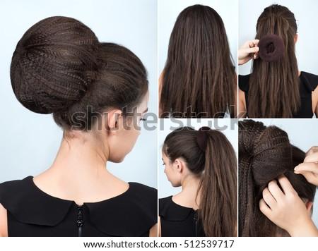Hairstyle Tutorial Volume Bun Chignon Hairstyle Stock Photo - Hairstyle bun tutorials