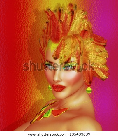 Hairstyle with feathers on a beautiful fashion model.  This artistic render depicts an unusual hairstyle that only an artist can wear with confidence, matching makeup and being beautiful helps too.   - stock photo