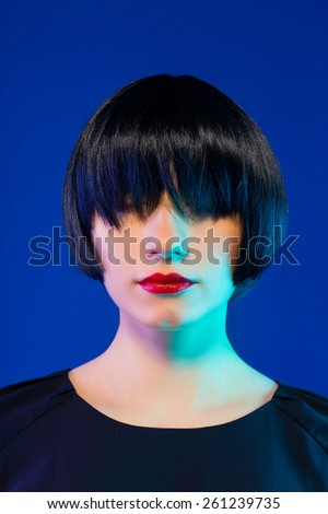 Hairstyle. Woman Makeup. Sexy Lips. Haircut - stock photo