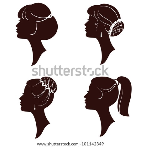 Hairstyles, beautiful women and girls silhouettes - stock photo