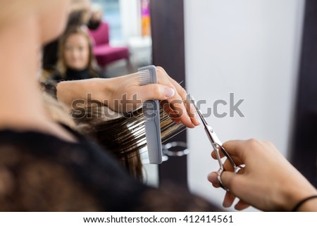Hairstylist Cutting Customer's Hair In Salon - stock photo