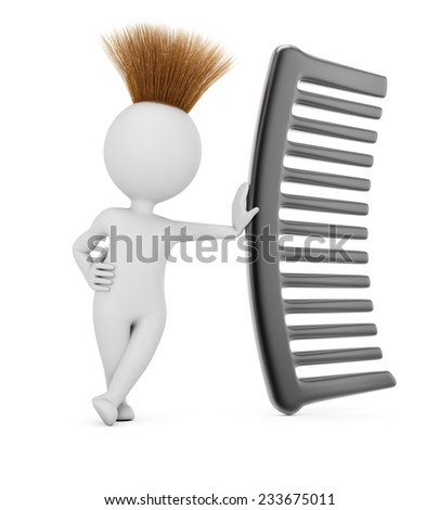 Hairy 3D man with comb isolated on white background. - stock photo