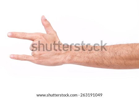 hairy man hand giving I love you hand gesture - stock photo