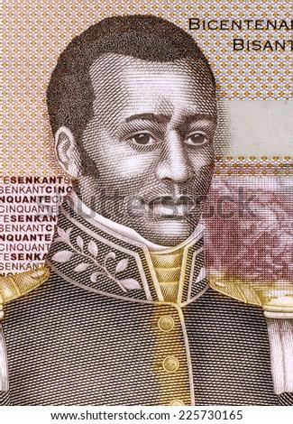 HAITI - CIRCA 2010: Francois Capois (1766-1806) on 50 Gourdes 2010 Banknote from Haiti. Haitian rebel slave. - stock photo