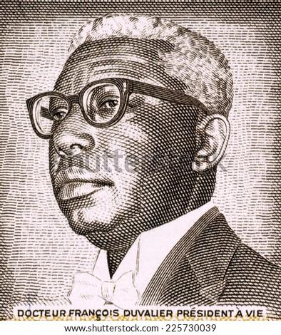 HAITI - CIRCA 1984: Francois Duvalier (1907-1971) on 1 Gourde 1984 Banknote from Haiti. President of Haiti during 1957-1971. - stock photo
