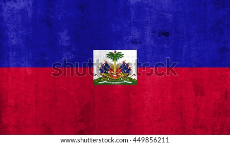 Haiti country flag with grunge wall texture background.
